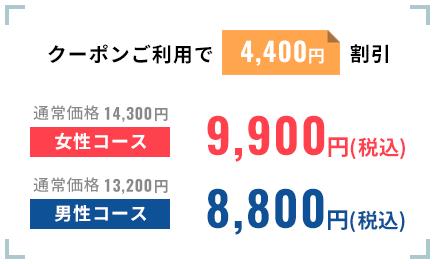 クーポンご利用で4,000円割引。通常価格13,000円女性コースを9,000円(税抜)。通常価格12,000円男性コースを8,000円(税抜)。